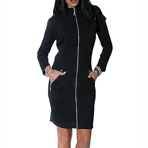 Rock Kleid in voller Länge Reißverschluss vorne High Neck Langarm Kleid , black , S