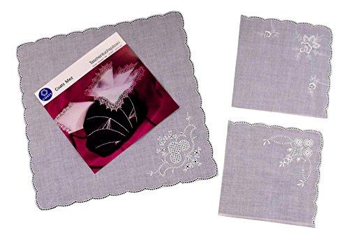 Karl Teichmann 3 Stück Anhäkeltaschentücher mit Stickerei-Ecke (gebogter Rand)