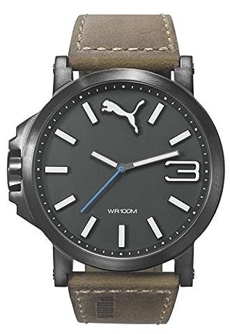Puma Time Ultrasize PU103461017 - Montre Quartz - Affichage Date Standard - Bracelet Cuir Marron et Cadran Noir - Mixte