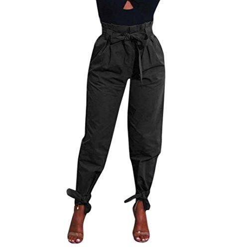 UFACE Frauen-Normallack-Verband-hohe Taillen-Hosen-Frauen umgeschnallte hohe Taillen-Hosen-Damen-Partei-beiläufige Hosen (XL/(46), Schwarz)