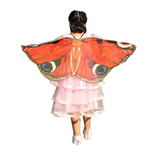 Jungen Mädchen Karneval Kostüm schmetterlingsflügel Kostüm Fasching Kostüme Butterfly Wing Cape Kimono Flügel Schal Cape Tuch (118 * 48cm, Rot 1) (Mädchen Butterfly Halloween-kostüm)