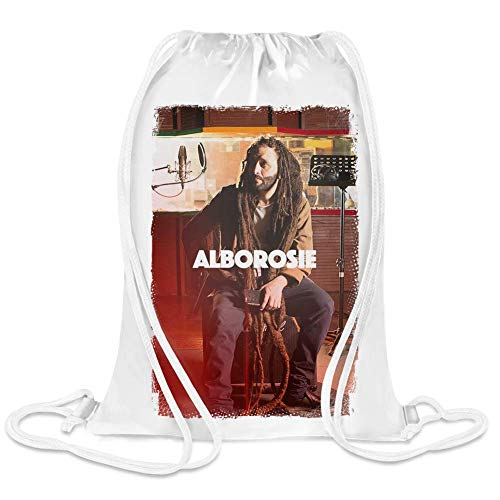 Clubbing Designs Alborosie Studio Live Custom Printed Drawstring Sack | 100% Soft Polyester| 5 Liter Capacity| Adjustable String Closure| The Stylish Bag For Every Day Use| Custom Bags By