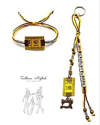 1 Porte clés personnalisable J'AIME COUTURE avec prénom ou message + 1 Bracelet MÈTRE À COUTURE Perles tibétaines, cordon satin