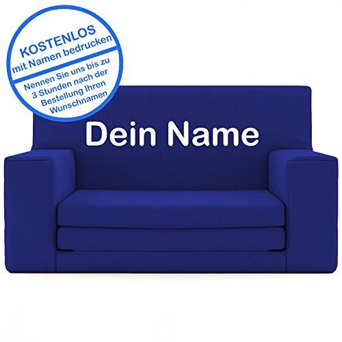 Modern Schlafsofa Blau (2 in 1 Kindersofa in Saphirblau mit Waschbarem Überzug - Als Geschenk Individuell Bedrucken - Schaumstoff aus Deutschland Spielzeug Couch und Bett Schlaf Matratze zum Auffalten für Kinder von 1-4)