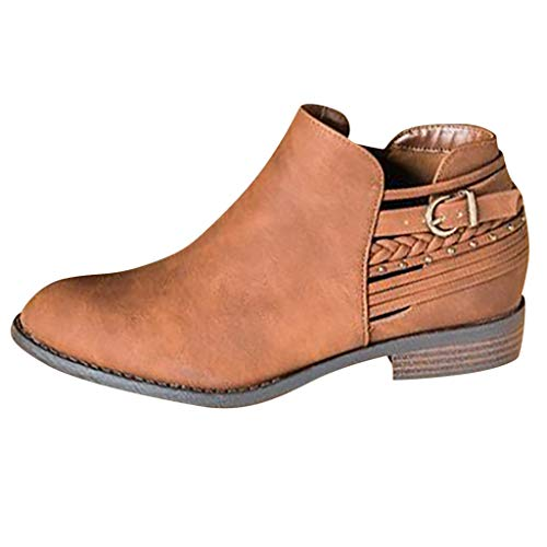 QinMM High Heels Short Booties, Fashion Retro Womens Komfortable Low-Heele Zipper rutschfeste römische Schuh Short Boot -