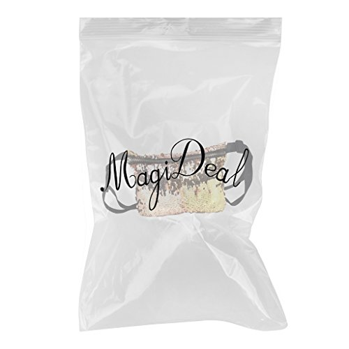 MagiDeal Pailetten Tasche Umhängetasche Kreuz Körper Schultertasche - Blau + silber Champagner + Gold