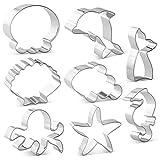 HONYAO Ozean Kreatur Meerjungfrau Ausstechformen Set - 8 PCS - Meerjungfrau Schwanz, Delphin, Octopus, Quallen, Clownfische, Seepferdchen, Seestern und Muschel für Kinder Edelstahl