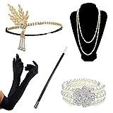 DRESHOW Accesorios de los años 20 Conjuntos Flapper Disfraz Gatsby Pluma Diadema Pendientes brillantes Collar largo Guantes negros Sostenedor de cigarrillos