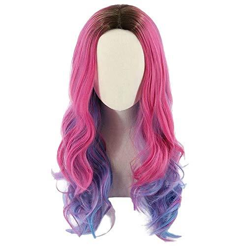 Audrey Perücke lange gewellte rosa und hellblau gemischte Cosplay Perücke mit Krone