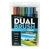Tombow Dual Brush Pen Set, 10-Pack, Landscape Colors (56169)