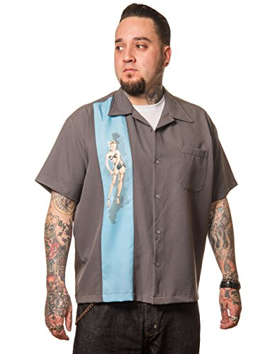 Steady Clothing Herren Vintage Bowling Hemd - Single Pin-Up Blau Retro Bowling Shirt M (Herren-vintage-bowling-shirt)
