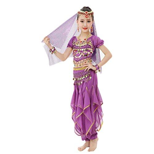 Bauchtanz Kostüm Kinder - Hunpta Handgemachte Kinder Mädchen Bauchtanz Kostüme Kinder Bauchtanz Ägypten Tanz Tuch (120-135CM, Lila)