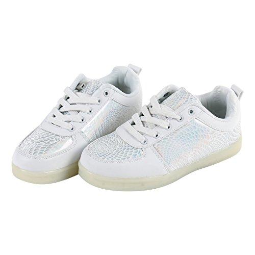 Angin-Tech LED Chaussures,7 Couleurs de Recharge USB Enfants Souliers de Clignotants Sneakers de Garçon et Fille pour l'Anniversaire Grâce de Noël Donnant avec Certificat CE Blanc