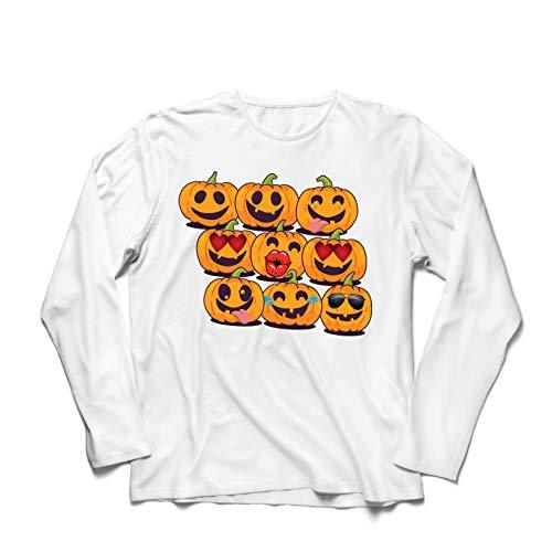 lepni.me Langarm Herren T Shirts Kürbis Emoji Lustiges Halloween-Party-Kostüm (XXXX-Large Weiß Mehrfarben)