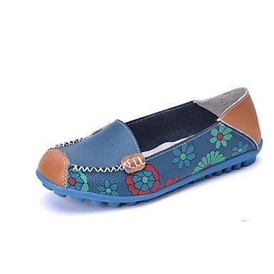 Shoeshaoge Femmes Chaussures Véritable En Cuir Automne Printemps Confort Appartements Plats Talon Plat Bout Rond Pour Casual Bleu Pêche Jaune Orange Bleu