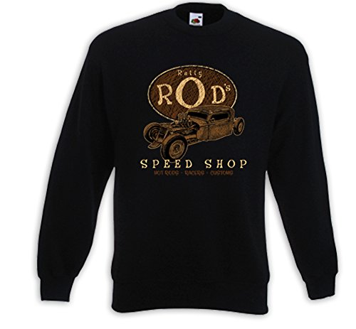 Hot Rod Pullover Ratty Rod Rockabilly Vintage V8 Muscle Rat Rod Schwarz