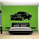 Svsnm Ford Mustang 1969 Amovible Vintage Grande Voiture Sticker Mural Sticker Vinilos Art Décoration De La Maison Chambre Papier Peint Sticker Black 102x41cm
