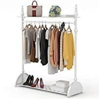 Tribesigns Heavy Duty 4ft Clothes Rail Garment Hanging Rail with 2 Tier Storage Shelves for Coat, Bag and Shoes, Metal White 168 x 40 x 120 cm