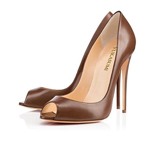 EDEFS Damenschuhe Faschion 100mm Open toe D'orsay High Heel Sexy Hochzeit Pumps Schuhe Chocolate