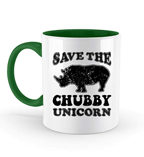 PlimPlom Save The Chubby Unicorns - Rettet Die Dicken Einhörner Kaffeetasse Bürotasse - Zweifarbige Tasse -330ml-Irish Green