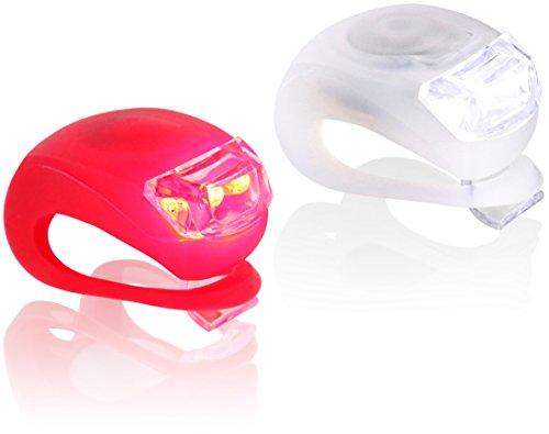 LED Silikon Sicherheitslicht SET - Clip-On wasserdicht - 3 Modi - 1 weiße & 1 rote Leuchte