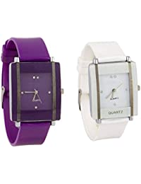 Exotica Watch With Square Dial |Combo Of 2 Watch | Attractive Look | White & Purple Colored Dial & Belt | Casual...