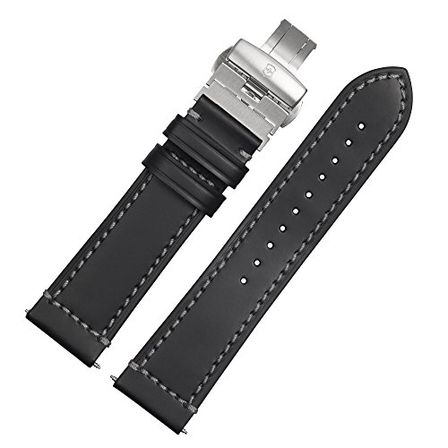 Victorinox Uhrenarmband 23mm Leder Schwarz - Uhrband 002101.1