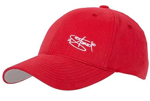 Baumwoll-gewebe-panel (Flexfit Cap Wooly Combed Rot mit Stick von 2Stoned, Größe L/XL (58 cm - 60 cm), Basecap für Damen und Herren)