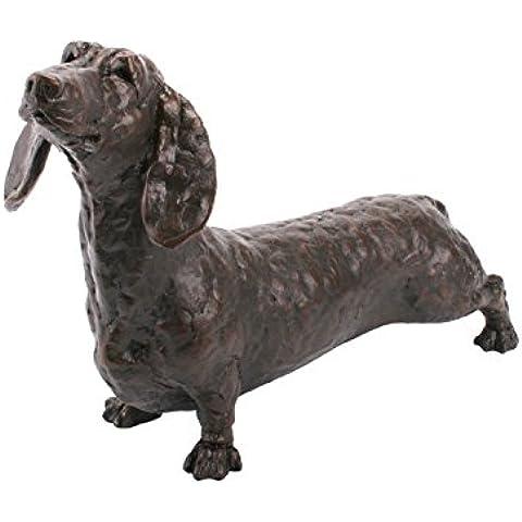 Dennis el de perro salchicha figura de perro de bronce fundido fría alta calidad