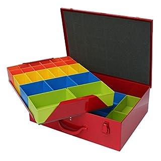 ADB Metall Sortimentskoffer/Sortimentskasten/Kleinteilekoffer/Kleinteilemagazin inkl. 46 Fächer Einteiler aus Kunststoff, mit Schaumstoff im Deckel
