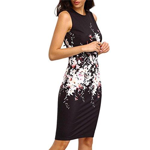 Kleid Damen,Binggong Sexy Sommer Frauen Sleeveless Bodycon Damen Abend Party Kleid Rundhalsausschnitt Slim Package Hüft Print Minikleid Schwarz Mode Super bequem Top Qualität Kleid (Schwarz, L) (Print Dot Jersey)