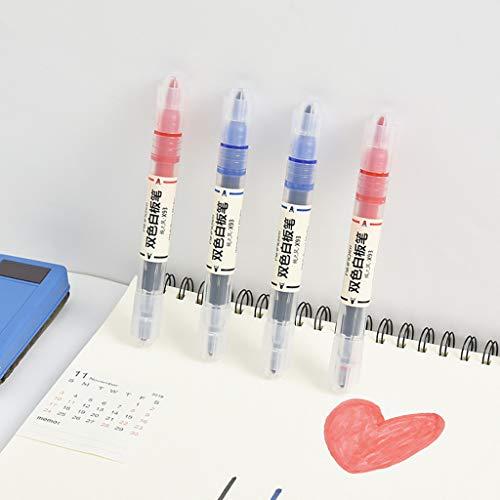 Dapei 2 Stück Marker Pens Blau/Schwarz & Rot Flüssige Kreide Doppelseitiger Tipp Marker Student Schreibwaren Bürobedarf Pen für Kinder Erwachsene, Schreibfarbe Bunt passend für Glas Tafel