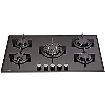 millar gh9051pb plaques de cuisson en verre tremp avec 5 br leurs gaz noir 90 cm. Black Bedroom Furniture Sets. Home Design Ideas