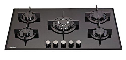 Millar GH9051PB Plaques de cuisson en Verre trempé avec 5 brûleurs à gaz Noir 90 cm/Table de Cuisson