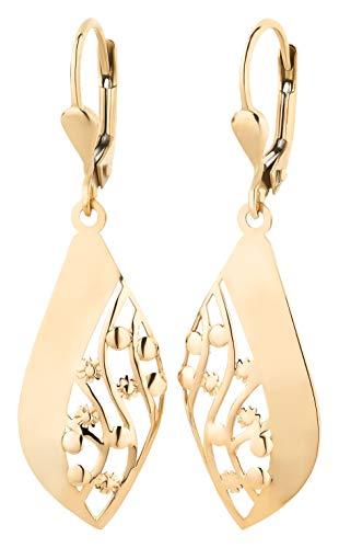 Ardeo Aurum Damen Hänge-Ohrringe aus 333 Gold Gelbgold Brisuren Hänger ohne Stein hochglanz-poliert Raute oval Blumen Blüte flach