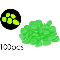 DSstyles resplandor en los guijarros oscuros 100 piezas Aquarium Pebbles Luminous piedras de guijarros para el jardín, pasarela - verde