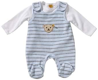 steiff baby jungen strampler gestreift 6242515 gr 50 blau 3023 bekleidung. Black Bedroom Furniture Sets. Home Design Ideas