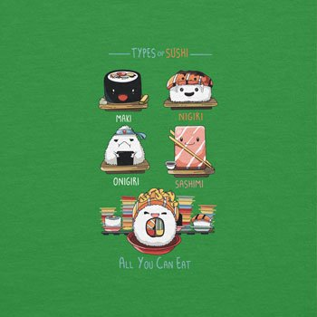 NERDO - Types Of Sushi - Herren T-Shirt Grün