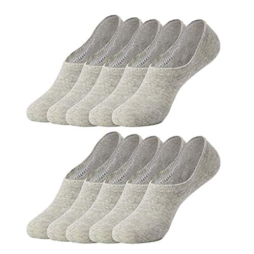 Preisvergleich Produktbild SHINEHUA 10 Paar Sneaker Socken Damen & Herren Schwarz Weiß Sportsocken Atmungsaktiv Unsichtbare Kurzsocken Silikonpad Verhindert Verrutschen