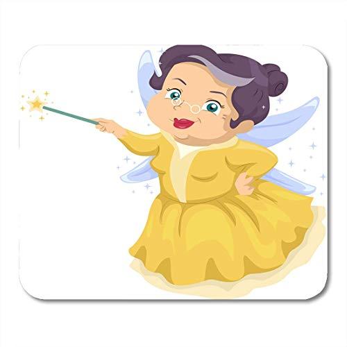 Luancrop Mausunterlage Buntes kennzeichnendes ältere Frauen-tragendes feenhaftes Kostüm, das magisches Mousepad für Notizbücher, Tischrechner-Mausunterlagen, Bürozubehöre hält