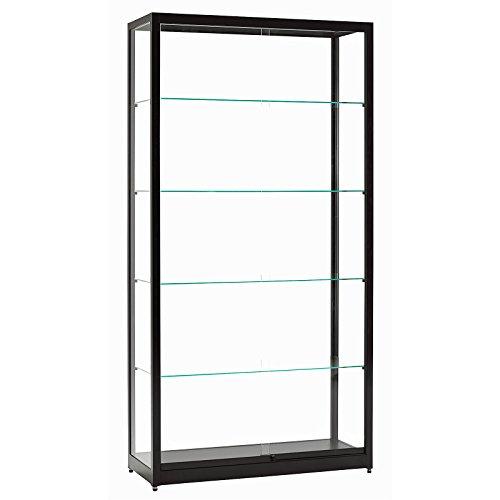 Vitrine Glasvitrine Standvitrine Sammlervitrine Eco 1000 Alu Schwarz Glas abschließbar Schiebetüren - Glas-schiebetür-vitrine