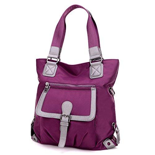 LINGE-Borsa a tracolla ladies Oxford impermeabile , black Purple