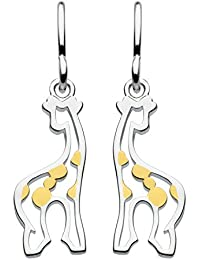 Dew Sterling Silver and Gold Plate Stand Tall Giraffe Drop Earrings