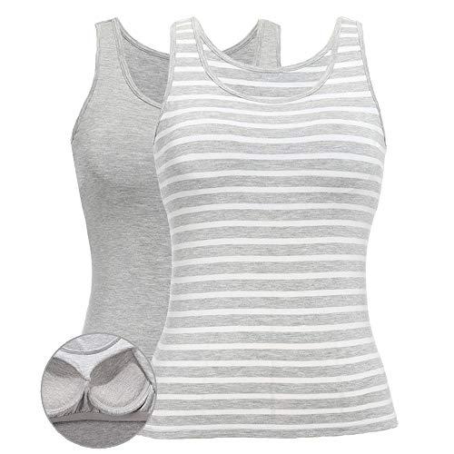 SLIMBELLE Damen BH-Hemd Unterhemd mit Unsichtbarer BH ohne Bügel Rundhals Basic Tank Tops 2er Pack Grau und Streifen Grau für Cup A-C XXL - Bh Cup-streifen-top