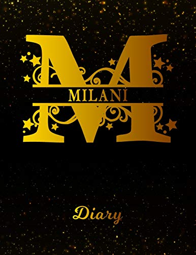 Milani Diary: Letter M Personalized First Name Personal Writing Journal   Black Gold Glittery Space Effect Cover   Daily Diaries for Journalists & ... Taking   Write about your Life & Interests (Milani Gold)