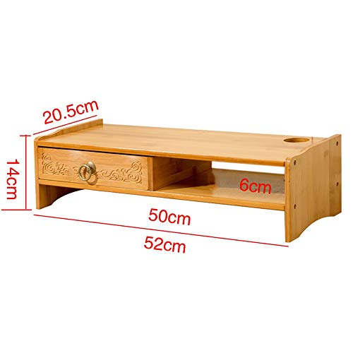 Desktop-Computer-Ständer Mit Schublade, Bambus Nach Hause Erhöhen Sie Die Grundhalterung, Monitor Stand Riser Tastatur Bücher Bürobedarf Speicherorganisator (Color : Wood Color, Size : 1 Drawer) -