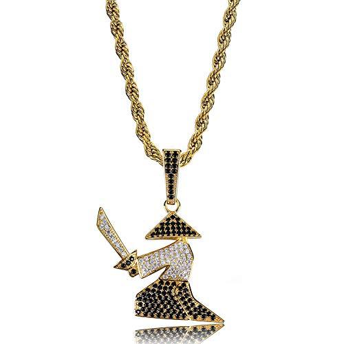 SuaMomente Mode Halskette Zirkon japanischen Krieger Schwert Anhänger Halskette Edelstein Halskette Hip Hop Street Jewelry Halskette,Gold (Edelstein-halskette Schwert)