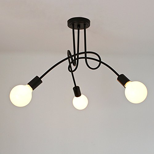 XSPWXN Lámpara de araña de hierro nórdico moderno simple araña creativa retro comedor americano lámpara dormitorio salón arte balcón tres cabezas de araña de alto brillo E27 fuente de luz 110V - 240V ( Color : Black , tamaño : Three heads )