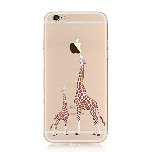 iPhone 6S Case, iPhone 6 Cover, CrazyLemon Ultra Thin Transparent Soft Flexible TPU Clear Creative Colorful Pattern Design Perfect Fit Shock-Absorbing Protective Case for iPhone 6 6S 4.7 inch - Giraffe