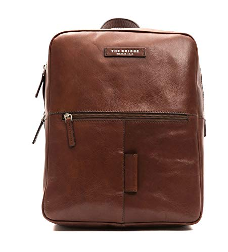 The Bridge Zaino Backpack large linea Passpartout Porta Pc fino a 15' pelle leather made in Italy man uomo 26X32X12 cm marrone brown 46423501